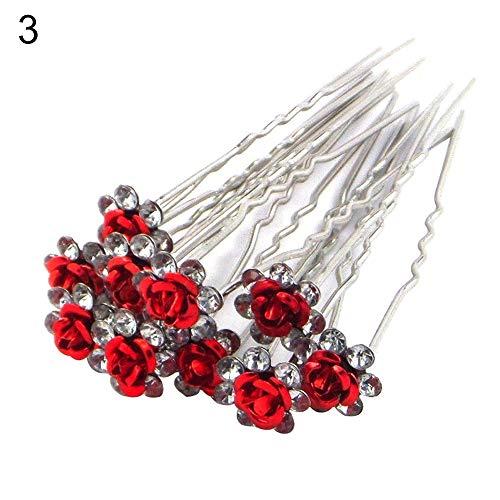 tianxiangjjeu 10 forcine per capelli da donna, placcati in argento, con strass, a forma di fiore, colore rosso