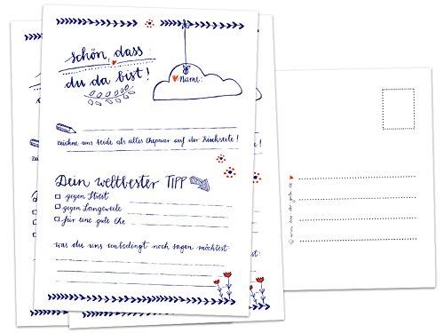 Hochzeitsspiel für Gäste - 52 Postkarten, Schön, dass du da bist, Spiel für die Hochzeit mit witzigen Fragen & zum Zeichnen, Recyclingpapier Partykarten & Postkartengruß, Blau Weiß