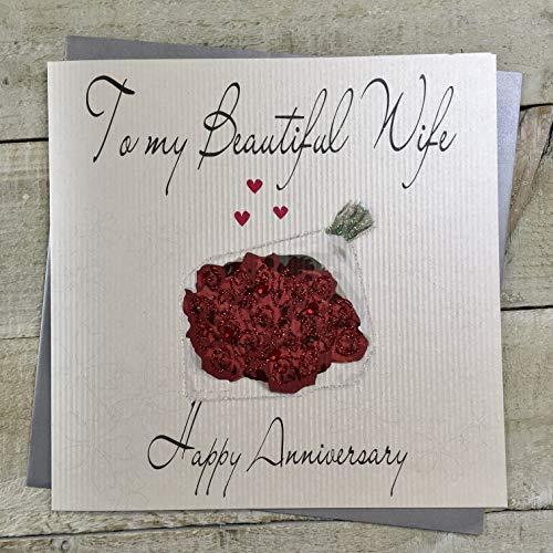 witte katoenen kaarten Code XLWB47 Aan Mijn Mooie Vrouw Gelukkig Verjaardag Handgemaakte Grote Verjaardagskaart Rozen, Rood