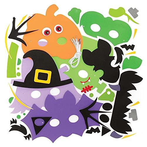 Baker Ross FE745 Kits de Máscaras de Halloween - Paquete de 4, Haz tus propias Decoraciones de Halloween, Ideal para una Fiesta de Halloween y Disfraces para niños