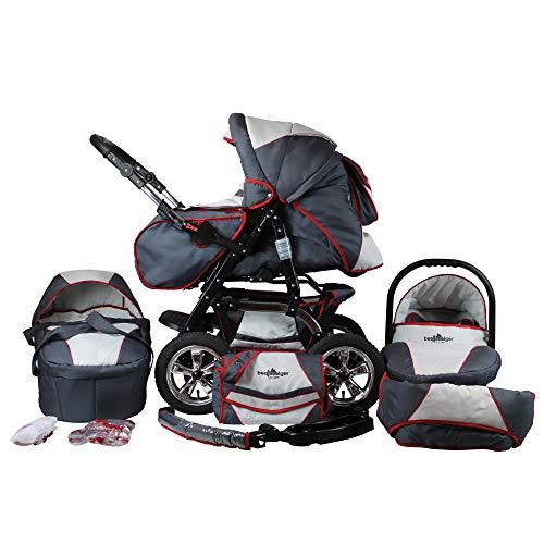 Bergsteiger Milano Kombikinderwagen + Autositz mit Travelsystem (Megaset 10 - teilig); Farbe: Grey + Red Stripes
