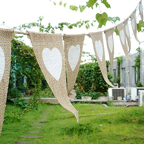 MONTA Banderas de arpillera Banderas Banderines Corazón Decoración del Hogar Jardín