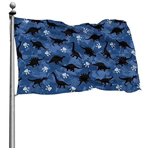 Bandera de lujo con estampado de dinosaurio, 4 x 6 pies, gran pancarta de poliéster cosida, bandera estándar para colgar en el exterior, para patio, jardín, césped, vacaciones