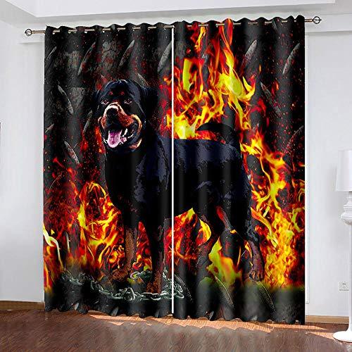 WDQFGE Cortinas Cortas para Ventanas Llama Animal Negro 280x215 cm Cortinas Salon...