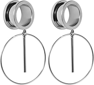 Ear Plug Tunnel Gauge Stretcher Piercing Ring Design Pendant Stainless Steel Screw