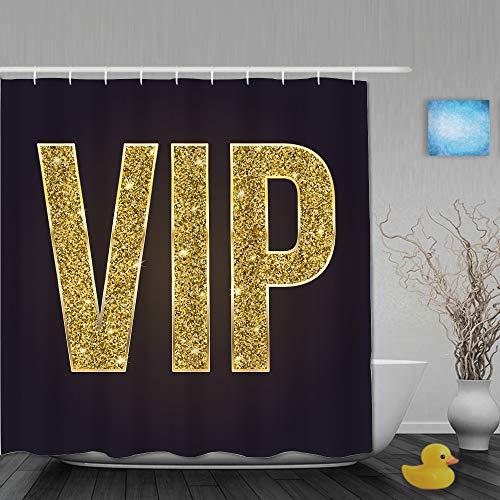 YOLIKA Duschvorhang,Goldenes Symbol der Exklusivität Das Label VIP Sehr wichtige Person auf 3D Schwarz,personalisierte Deko Badezimmer Vorhang,mit Haken,180 * 180
