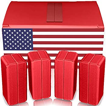 Magnetic Flag / Curtain Weights 8 Pack of Waterproof Magnets + Carrying Case Great for Stopping American Flag Tangles Clip On Bottom Heavy Duty Works Outdoor to Stop Wind  Red