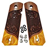 1911 Full Size Grips by Dan Eagle Scroll Design Simulated Gold Pearl & Solid Rosewood Fits Government and Commander Colt Kimber Sig S&W
