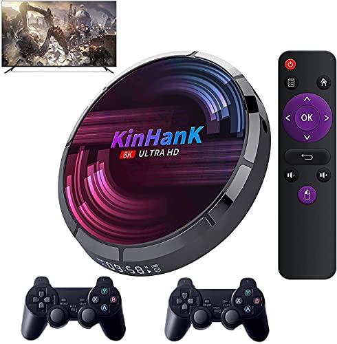 KINMRIS Consola Super X Max Retro WiFi Videojuegos Consola para SS/PS1/PSP/N64/DC/SNES Juego 4K HD H96 Juego/TV Box con 50000+ juegos (4G+256G