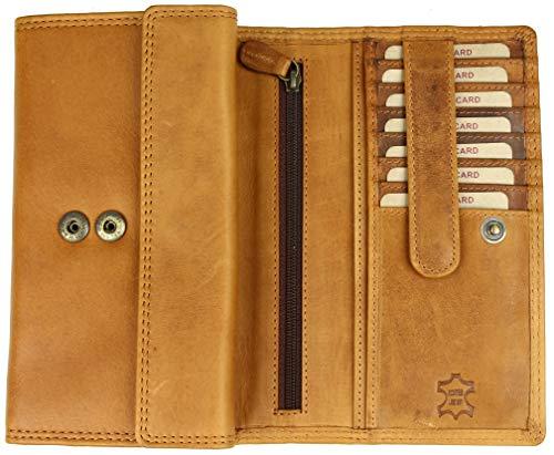 Hill Burry hochwertige große Vintage Leder Damen Geldbörse Portemonnaie Portmonee Frauen Geldbeutel aus weichem Leder mit extra vielen Fächern - 17,5x10x4cm (B x H x T) (Braun)