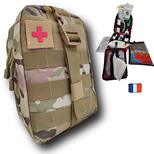Secuenor - Astuccio tattico militare, kit completo, 103 pezzi, prodotto in Francia, si fissa sulla cintura, concepito per la casa, escursionismo, lavoro, auto, caccia, sport