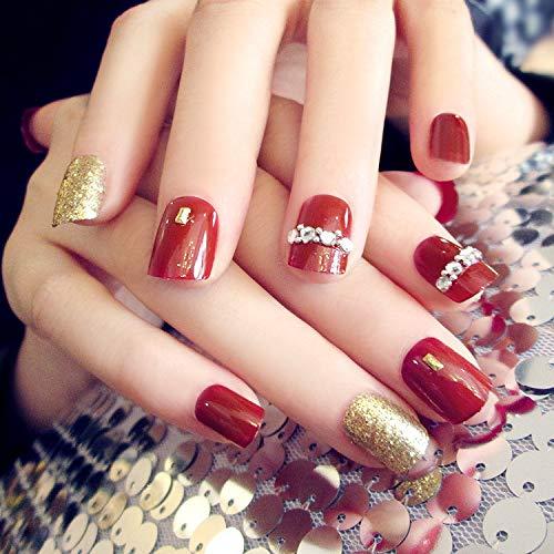 Sanwood 24 künstliche Fingernägel mit Glitzersteinen, für Maniküre, DIY-Werkzeug, Nageldesigns, für Damen und Mädchen