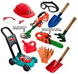 Sunfun Children's Complete Landscaping Set with Push Lawnmower, Power Saw, Weed Trimmer, Gardening Tools, Goggles & Gloves :: Realistic Outdoor Backyard Toys for Boys & Girls