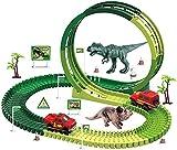 LINANNAN Dinosaur Toys Carrera Carrera Tren Tren 114 PCS Pistas de Tren Flexibles Playsets 360 ° Variable Racing Track Juego Dino Slot Juguetes para automóviles para niños Niños y niñas