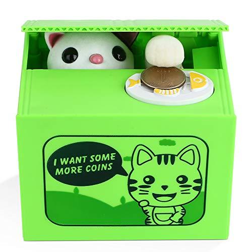 Peradix Spardose Katze und Panda Elektro Gelddose Sparschwein Elektronische Spielzeug Kinder Geburtstagsgeschenk,Mehrweg(Grüne Katze)