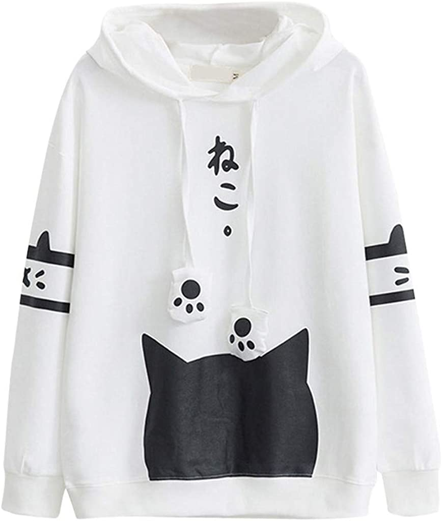 Women's Pullover Hoodies Long Sleeve Hooded Lovely Cat Printing Casual Loose Sweatshirts Blouse Tops for Teen Girls