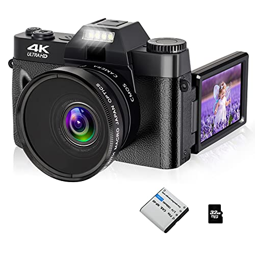 4K 48MP Digital Camera Vlogging Camcorder, FHD Video Camera with WiFi, Flip Screen Camera with 16X Digital Zoom and 3.0 Inch Flip Screen, Vlog Camera for YouTube (Fixed Focus & 32G Micro Card)