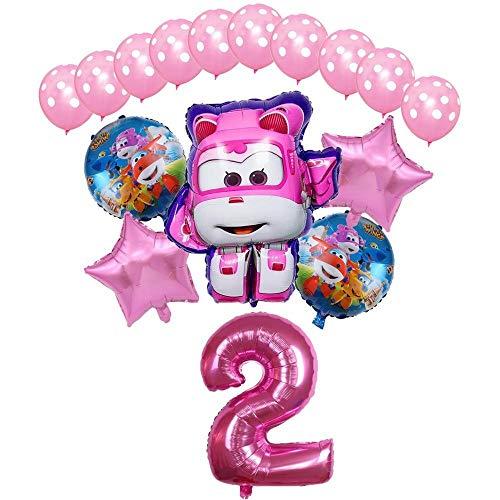 XIAOYAN Globos 16pcs Super Wings Balloon Jett Globloons Super Wings Toys Fiesta de cumpleaños 32 Pulgadas Número Decoraciones Niños Juguete Globos Suministros ( Color : Pink2 )