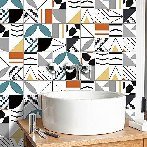 azulejos adhesivos cocina,10 piezas de pegatinas de azulejos de colores geométricos, pegatinas de pared autoadhesivas de bricolaje pegatinas de azulejos de dormitorio de sala de estar -20cm