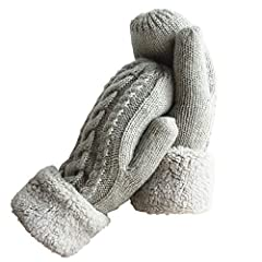 ★ Premium Quality Material ★: 70% Wool & 30% Acrylic. These mittens are super soft and warm with a plush cuff. Hand wash or spot clean recommended. Please try not to Machine Wash or Brush Wash. ★ Size ★: One Size. Length 10 inch, and palm width 4 inc...