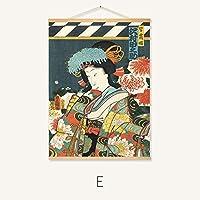 日本の浮世絵侍ヴィンテージポスター塗装壁ステッカー寿司店内装、木製フレーム,E,80*60CM