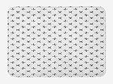 ABAKUHAUS Béisbol Tapete para Baño, Bates y Pelotas simplista, Decorativo de Felpa Estampada con Dorso Antideslizante, 45 cm x 75 cm, Blanco Negro