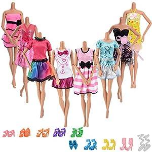 ASIV 10 pz Abiti da Matrimonio alla Moda Fatti a Mano Abito per Party, con 10 Paia di Scarpe Bambola, per Della Ragazza…