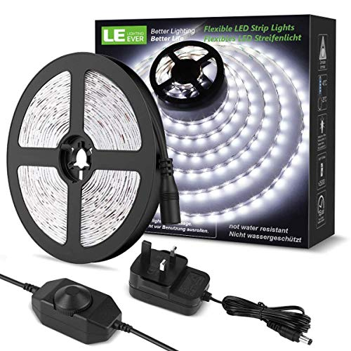 Kit de luces de tiras de 5m D, Dimmab, 1200lm, luz diana blanca 6000k, enchufe y reproducción D Luz de cinta para el dormitorio de la cocina para el hogar y más, la fuente de alimentación de 12V y el