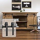 WINSOON 5FT Super Mini Sliding Barn Door Cabinet Hardware Kit for Double Doors TV Stands Small Wardrobe Cabinets, J Shape Hanger (NO Cabinet)