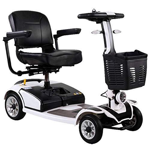 Ybzx Ligero y Compacto, Plegable, Scooter eléctrico de Movilidad y Viaje eléctrico en Las 4 Ruedas, Asiento de 40 cm de Ancho, pasamanos Que se Puede Abrir, Freno electromagnético, Asiento gir