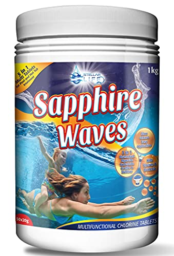 Sapphire Waves 5 in 1 Multifunction Chlorine Tablets for Hot Tubs, Spa, Swimming Pools. 1Kg Tub 50 x 20g 1