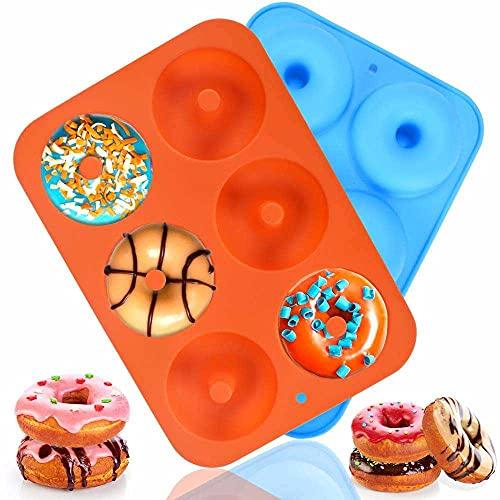 Molde de silicona para donuts, 2 unidades, antiadherente, para 6 donuts, bagels, pasteles y más de 10 x 7 x 1 pulgadas