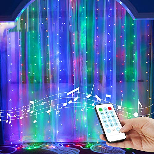 String Lights Curtain,8 Modes USB Powered Color Changing Lights for Thanksgiving Christmas Wall Decorations,Sound Activated Function Can Sync with Any Voice (Multi-Colored,7.9Ft x 5.9Ft)