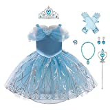 Disfraz de princesa Rapunzel Sophia Cenicienta Blanco Nieve Reina Cosplay Disfraces Halloween Carnaval Navidad Fiesta Traje Azul 2(con accesorios) 18-24 Meses