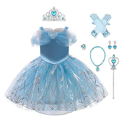 IMEKIS - Disfraz de princesa para niñas, color blanco como la nieve, Sofía Rapunzel Cenicienta Frozen 2 Elsa vestido de tul tutú de fiesta de cumpleaños con accesorios Halloween carnaval Cosplay