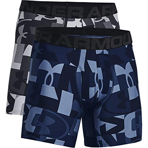 Under Armour Men's Tech 6-inch Novelty Boxerjock 2-Pack , Mod Gray (013)/Academy...