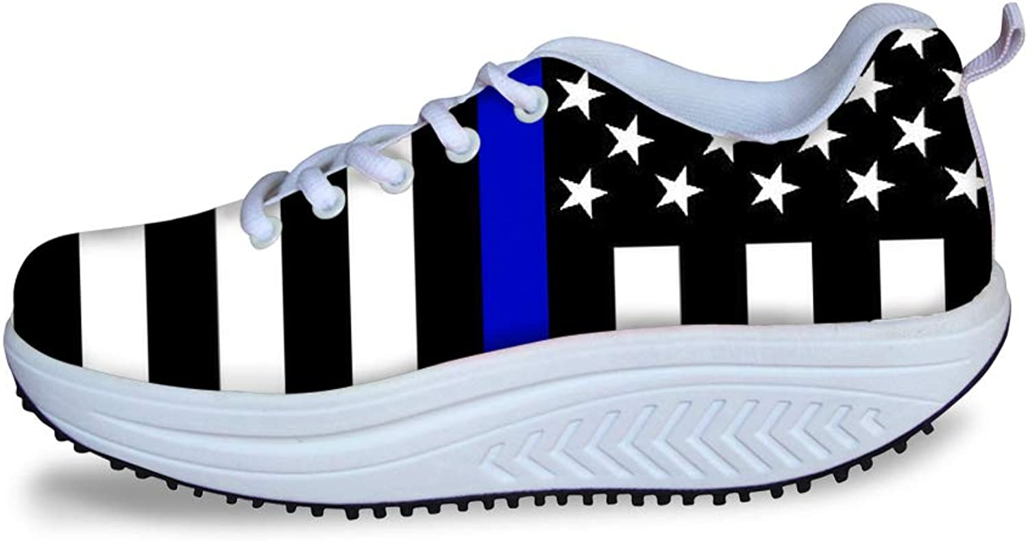 Owaheson Swing Platform Toning Fitness Casual Walking shoes Wedge Sneaker Women Police Thin bluee Line American Flag