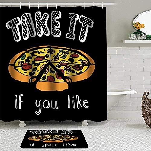EricauBird Duschvorhang Pizza mit dem Spruch Take It If You Like Dekoration, wasserdichte Badezimmer Duschvorhänge Baddekor 72x72