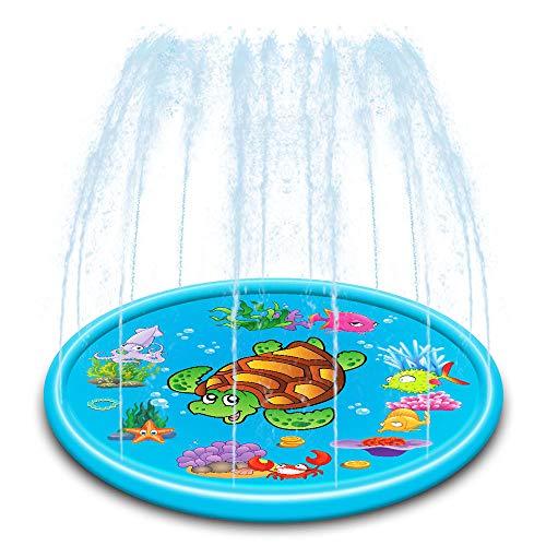 Niños Splash Pad Mat Juego de Agua, Verano de riego del cojín y Piscina Infantil Juguetes para Niños Juegos/Animales Actividades,110cm
