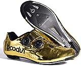 WYUKN Zapatillas de Ciclismo para Hombre, Zapatillas de Ciclismo MTB para Bicicleta de Montaña, Ciclismo de Descenso,Ejercicio en Interiores,Gold-EU42