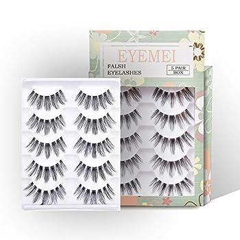 Fake Eyelashes 5 Pairs False Eyelashes Flexible Multipack Lashes Handmade Reusable Fashion for Women s Makeup Soft Eyelash by EYEMEI