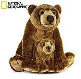 Geographics Grizzly NSG Los Animales de Peluche Madre con el bebé de Juguete de Felpa Nacional (2-Piece, Natural)