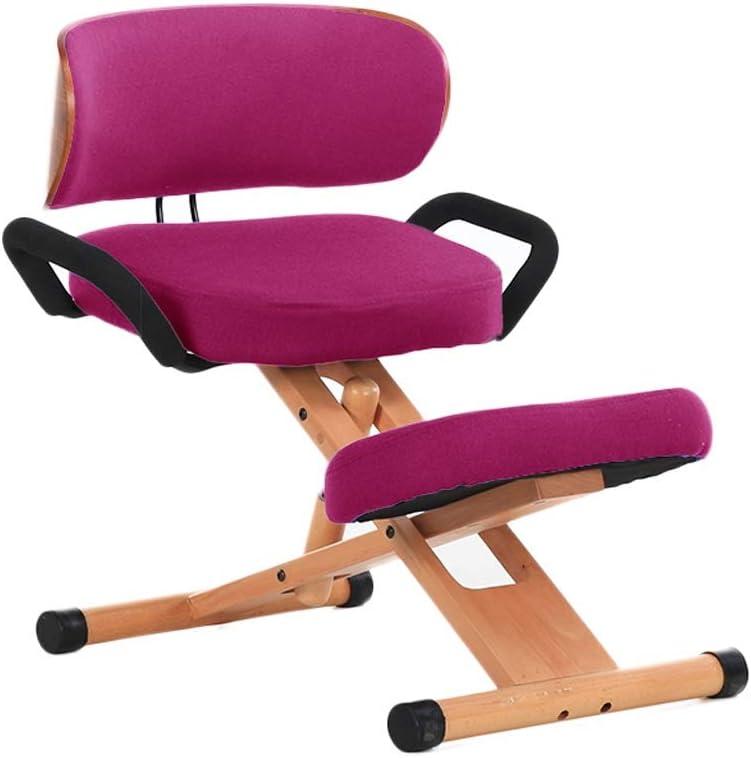 ZHJING Ergonomique Chaise à Genoux Ergonomique Genoux Chaise, Un Tabouret Orthopédique du Genou, avec Dossier, avec Poignée, Réglable Haute (Color : Gray) Rose Red