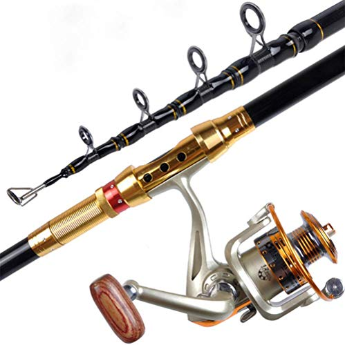 J&Z Barra de Pesca de Roca al Aire Libre, Anillo guía de Metal telescópico Pesca Carrete combinación caña de Pescar,3.0m