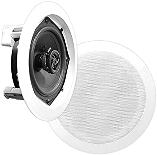 Pyle PDIC51RD in-Wall/in-Ceiling Dual 5.25-inch Speaker System, 2-Way, Flush Mount, White (Pair)