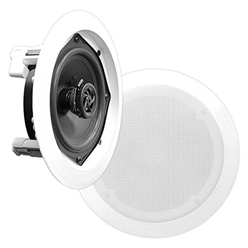 "5.25"" Ceiling Wall Mount Speakers - Pair of 2-Way Midbass Woofer Speaker 1'' Polymer Dome Tweeter Flush Design w/ 80Hz - 20kHz Frequency Response & 150 Watts Peak Easy Installation - Pyle PDIC51RD"