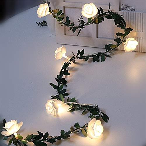 Rosengirlande Lichterketten Batteriebetrieben Weiße Blumen-Lichterketten Grün lässt Feiertagsbeleuchtung Party Fenster Gartendekoration Blumengirlande Lichter (3 meter 20 leds)