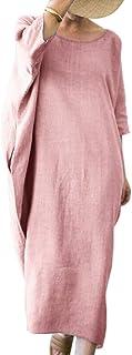 Shallood Donna Estivo Elegante Scollo a V Manica Corta Cotone Lino Vestito da Cocktail Abito con Tasca 02 Rosa 52