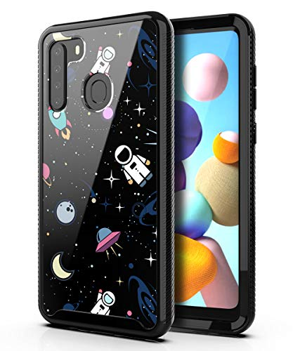 PBRO Case for Samsung Galaxy A21 (2020) Case,Cute Astronaut Case Dual Layer Hybrid Anti-Slip Sturdy Case Rugged Shockproof Case for Galaxy A21 Space/Black