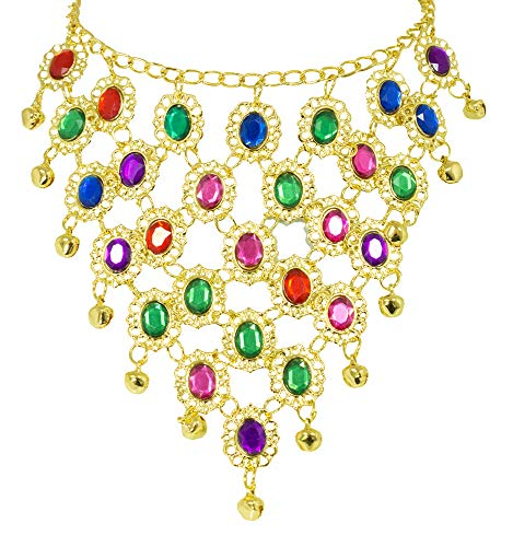 Andrea Moden Colorido Collar de Joyas de Oriente Bollywood para Disfraz de Mujer - Joyas Hermosas para Trajes orientales o Indios para Carnaval o Fiesta temtica